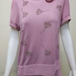 เสื้อคอกลมผ้าชีฟอง+ผ้ายืดเกาหลี สีชมพูกลีบบัว By NEW YA FAG