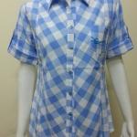เสื้อลายสก๊อตแขนยาว Patino Fashion สีฟ้า