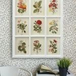 ภาพพิมพ์ดอกไม้สไตล์วินเทจ 9 ช่อง