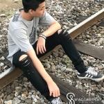 กางเกงขาเดฟ SWG-Black ขาดเข่า