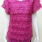 เสื้อผ้าลูกไม้ สีชมพูบานเย็น By RED FLOWER ไซส์ XL