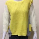 เสื้อกันหนาวไหมพรม คอกลม แบบสวม สีเหลือง