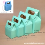 กล่องของขวัญทรงหูหิ้ว สีเขียวอ่อน มี 4 ขนาด (บรรจุ 50 กล่องต่อแพ็ค)