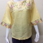 เสื้อผ้าลินินอย่างดี สีเหลือง Size 44