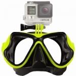 FREEWELL Diving Mask Lime หน้ากากดำน้ำสำหรับติดกล้อง GoPro Hero4,3+,3,Action Camera สีเขียวมะนาว