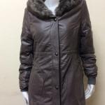 เสื้อโค้ทกันหนาวหนังเทียม ขนเป็ด แต่งขนเฟอร์ สีน้ำตาล XL