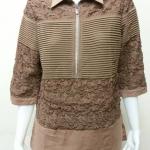 เสื้อผ้าลินินลูกไม้ปกเชิ้ต สีน้ำตาล BY T&L