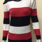 เสื้อกันหนาวไหมพรม คอกลม แบบสวม สลับสี