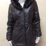 เสื้อโค้ทกันหนาวหนัง PU ขนเป็ดแท้ สีเทาดำ Size L