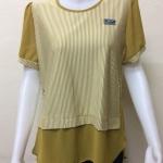 เสื้อคอกลมแขนสั้น สีขาวสลับสีเหลือง By MEENA
