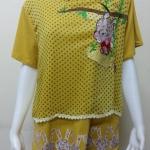 เสื้อคอกลมผ้าชีฟอง สีเหลืองไพร BY Nana