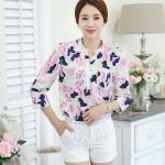 รหัส MN38 เสื้อเชิ้ตสไตล์เกาหลี ผ้าชีฟองพิมพ์ลายสีสดใส