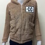 เสื้อแจ็คเก็ตกันหนาวแฟชั่นขนสำลี สีน้ำตาล