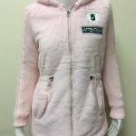 เสื้อแจ็คเก็ตกันหนาวแฟชั่นขนสำลี สีชมพู