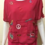 เสื้อผ้าชีฟองคอกลม สีชมพูบานเย็น BY T&L