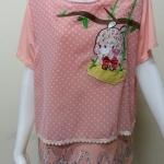 เสื้อคอกลมผ้าชีฟอง สีโอรส BY Nana