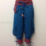 กางเกงผ้าพื้นเมืองภาคเหนือ ทรงสะกา สีฟ้าน้ำทะเล