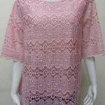 เสื้อผ้าลูกไม้ด้านหน้า สีชมพูอ่อน By Bai Mai Daeng Size 48