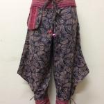 กางเกงผ้าพื้นเมืองภาคเหนือ ทรงสะกา สีเทาพิมพ์ลายดอก