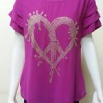 เสื้อคอกลมผ้าชีฟอง สีชมพู(บานเย็น) BY Kut Katawetee