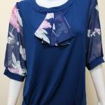 เสื้อคอกลมผ้าชีฟอง+ผ้าเกาหลี สีกรมBy NEW YA FAG