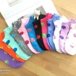 เซตถุงเท้า ลายอมยิ้ม สีผสม ( 6 คู่ ) คละสีได้