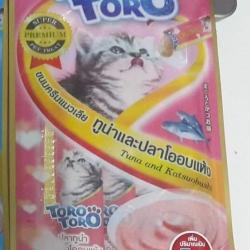 ขนมครีมแมวเลีย toro toro ทูน่าและปลาโออบแห้ง แพค15g.5ซอง หนึ่งโหล 590รวมส่ง