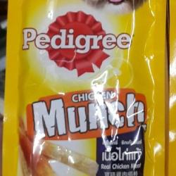 Pedigree chicken munch ขนมไขมันต่ำสำหรับสุนัขโตเต็มวัย หกซอง ราคา 284รวมส่ง