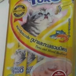 ขนมครีมแมวเลีย toro toro ทูน่าและทะเลรวมมิตร แพค15g.5ซอง หนึ่งโหล 590รวมส่ง