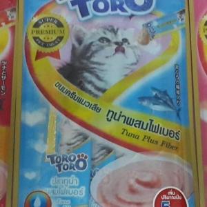 ขนมครีมแมวเลีย toro toro ทูน่าผสมไฟเบอร์ แพค15g.5ซอง หนึ่งโหล 590รวมส่ง