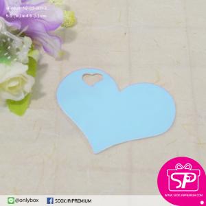 ป้ายTAG ลายเรียบทรงหัวใจ สีฟ้า ขนาด 5.5x4.5 ซม. (บรรจุแพ็คละ 50 ชิ้น)