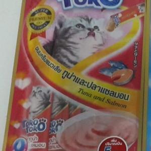ขนมครีมแมวเลีย toro toro ทูน่าและปลาแซลมอน แพค15g.5ซอง หนึ่งโหล 590รวมส่ง