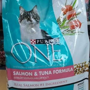 Purina One Adult Salmon and Tuna เพียวริน่าวันแมวโต สูตรปลาแซลมอน และปลาทูน่า 3kg. 635รวมส่ง