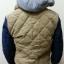 เสื้อแจ็คเก็ตกันหนาว มีฮู้ดสุดเท่ห์ แนววัยรุ่น สีครีมแขนสลับสีกรม thumbnail 2