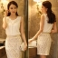 รหัส A181 เสื้อผ้าชีฟองสีขาว จับช่อดอกกุหลาบและปักเลื่อมบริเวณอก สวมใส่สบาย thumbnail 1