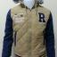 เสื้อแจ็คเก็ตกันหนาว มีฮู้ดสุดเท่ห์ แนววัยรุ่น สีครีมแขนสลับสีกรม thumbnail 1