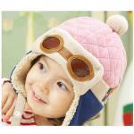 หมวกไหมพรม FC หมวกนักบิน สีชมพู