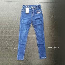 กางเกงยีนส์ขาเดฟ สีเข้ม ปักลาย FILA