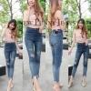กางเกงยีนส์ผู้หญิง ขาเดฟ เอวสูง สีฟอกสนิม