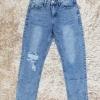กางเกงยีนส์ผู้หญิง บอยเฟรนด์ เอวปกติ สีฟอก
