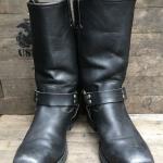 Vintage Harley Davidson Black Leather harness Biker งานHand crafed หัวตัด หนังสีดำด้าน