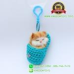 พวงกุญแจแมวนอนหลับในถุงเท้า สีฟ้า 8x5 CM [มีเสียง]
