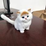 ตุ๊กตาจำลองแมวนั่ง สีขาวหูสีเหลือง 11x15 CM [มีเสียง]