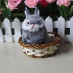 กระต่าย สีเทา จำลองในตะกร้าหวาย 11x12 CM