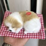 หมานอนหลับบนเบาะแดง สีโอรสขาว 17x13 CM [มีเสียง]