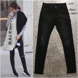 กางเกงยีนส์ขาเดฟ สีดำฟอก ปะผ้า