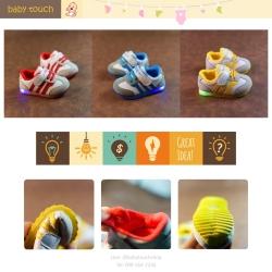 Baby Touch รองเท้าเด็ก รองเท้าไฟกระพริบ ทรงกีฬา สามขีด (Shoes - FLA1)