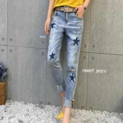 กางเกงยีนส์ขาเดฟ สีฟอก ปักลายดาว