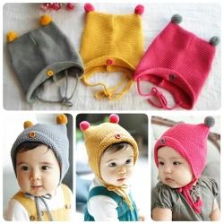 Baby Touch หมวกไหมพรมปิดหู มีจุก (Hat - EC)