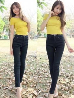 กางเกงยีนส์ผู้หญิง ขาเดฟ สีดำฟอก